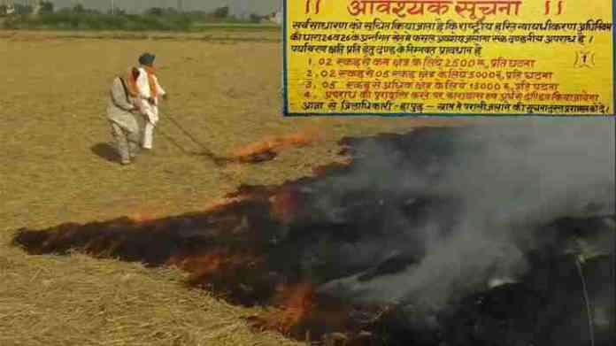 stubble burning fine and damages
