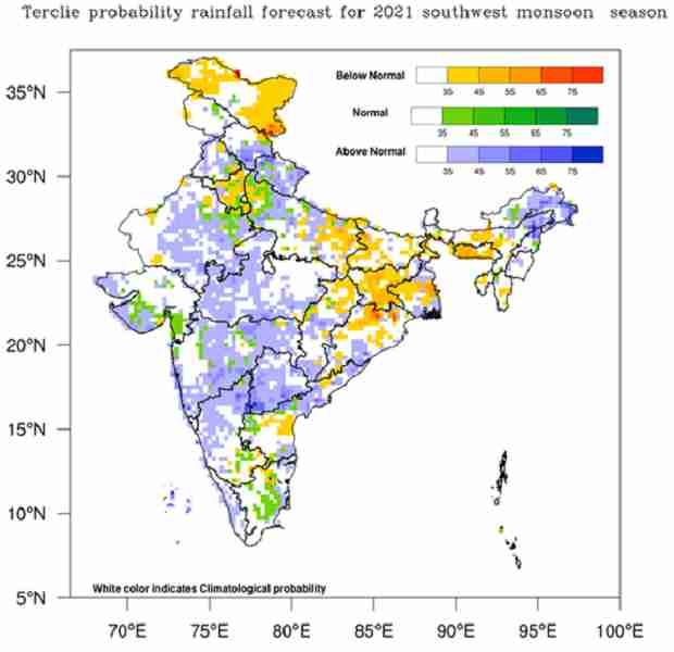 rainfall forecast for monsoon 2021